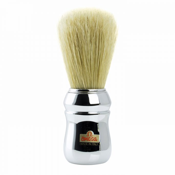 Omega Professional Hog Shaving Brush - Chrome