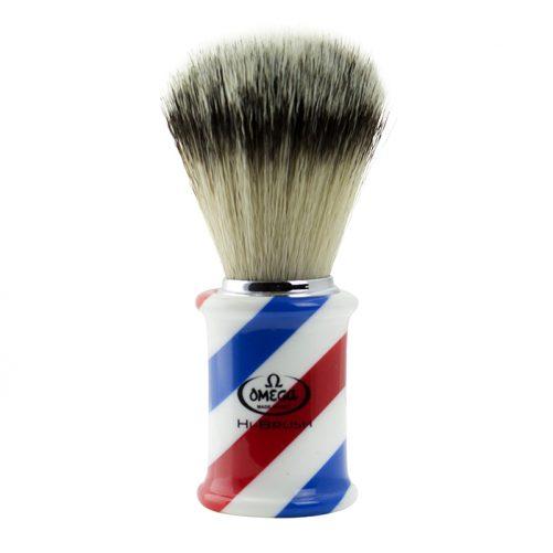 Omega Hi-Brush Synthetic Barber Pole Shaving Brush